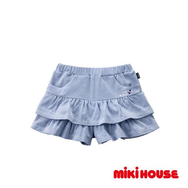 MIKI HOUSE  日本製 經典刺繡海軍風蛋糕裙(藍)