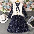 兩件套 法式秋裝年新款針織馬甲兩件套裙子氣質收腰碎花雪紡連身裙女 萬聖節 【618特惠】