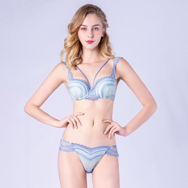 思薇爾-幻漾精靈系列B-E罩蕾絲包覆內衣(灰夜藍)