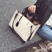大包包2018新款歐美時尚女士單肩包復古撞色斜跨手提女包冬款 【PINKQ】