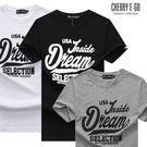 Cherry e購【K7363】潮男/情侶,美式DREAM印字短袖棉T_3色