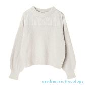 「Hot item」胸前花朵蕾絲拼接毛絨針織上衣 - earth music&ecology
