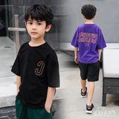 男童短袖T恤童裝2019夏裝兒童體恤衫半袖大童薄款上衣寬鬆港風潮 FR10009『俏美人大尺碼』