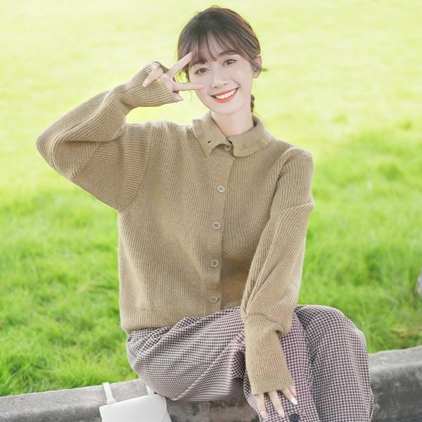 針織開衫 加厚高領毛衣女復古開衫純色針織衫百搭套頭潮