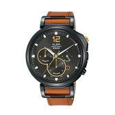 ALBA雅柏 新上市廣告款文青三眼計時碼錶VD53-X303J (AT3D69X1)咖X黑