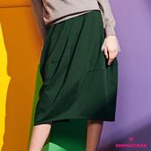 【SHOWCASE】側口袋棉質剪接七分長裙(綠)