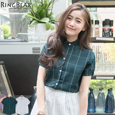 襯衫--簡單大方文青系女孩超優質感好搭短立領袖釦格紋雪紡襯衫(白.綠XL-5L)-H178眼圈熊中大尺碼