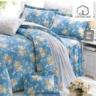 床罩組 雙人加大-精梳棉七件式兩用被床罩組/愛麗絲藍/美國棉授權品牌[鴻宇]台灣製2001