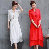 漢服 大碼亞麻長裙中國風古典改良漢服仙女裙子文藝棉麻洋裝   琉璃美衣