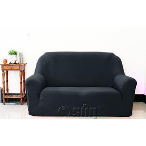 【Osun】素色系列-2人座一體成型防蹣彈性沙發套、沙發罩黑色