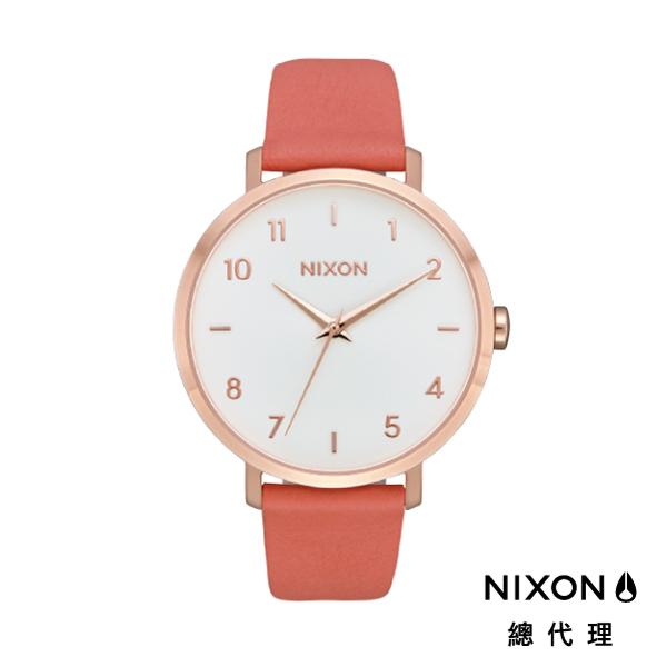 【酷伯史東】NIXON Arrow Leather 橘粉白面 潮流時尚皮錶帶 男女 生日 情人節禮物