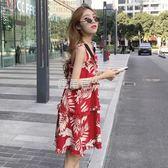 吊帶洋裝 巴厘島沙灘裙女夏泰國海邊度假顯瘦港風吊帶裙洋裝「鹿角巷」