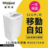 【Whirlpool 惠而浦 】32L節能除濕機 WDEE70AW 福利品