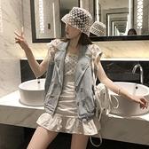 牛仔拼接蕾絲馬甲外套上衣開衫S-L夏季款重工釘珠雙排扣牛仔馬甲女潮F139快時尚