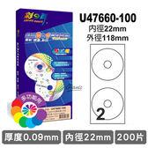 彩之舞 中孔 22mm 進口 3合1 白色光碟標籤 U47660-100 光碟標籤紙 光碟貼紙 圓標貼紙