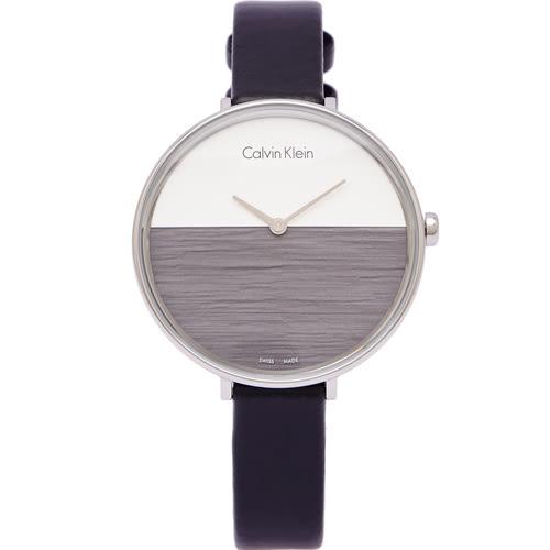 CK Calvin Klein清新木質感女性手錶(K7A231C3)-灰黑X銀白面/38mm