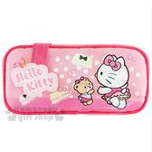 〔小禮堂﹞Hello Kitty 拉鍊方形筆袋《粉.小熊.蛋糕裙.造型扣》 4712937-66549