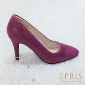 現貨 MIT小中大尺碼晚宴鞋推薦 素雅女神 麂皮拼接羊皮格紋高跟鞋 20.5-26.5 EPRIS艾佩絲-緋紅