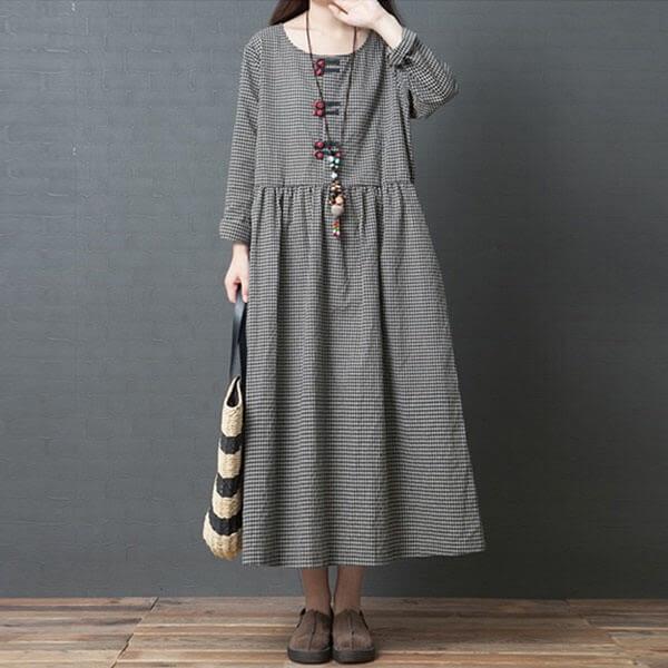 小格子中國結洋裝