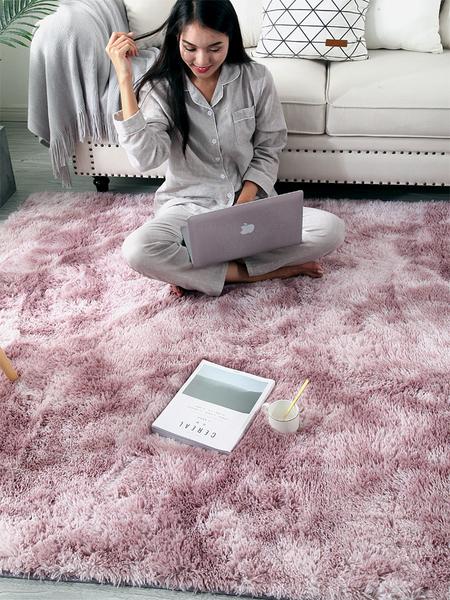 北歐地毯 臥室網紅同款少女可睡可坐床邊長毛地毯客廳滿鋪可愛  降價兩天