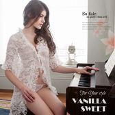白玫瑰優雅蕾絲二件式罩衫丁褲組 極度遐想 - 香草甜心