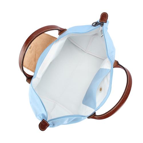 LONGCHAMP 短提把中型尼龍摺疊水餃包(水藍-含帕巾)480101-A30