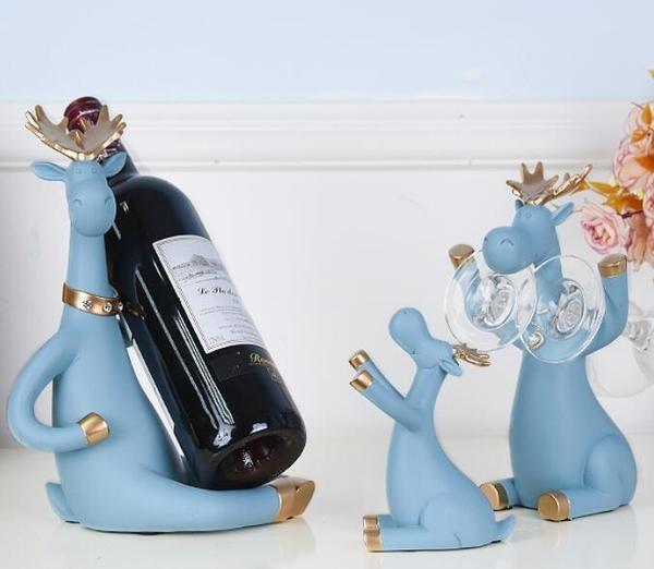 歐式創意紅酒架擺件酒柜裝飾品家用客廳置物高檔酒瓶倒掛高腳杯架 暖心生活館