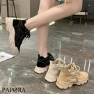 PAPORA厚底增高短筒學生鞋中筒靴短靴KK4145 米/棕