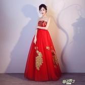 孕婦抹胸敬酒服夏季新品高腰大尺碼新娘結婚禮服紅色長版  快速出貨