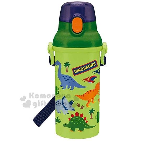 〔小禮堂〕恐龍 日製直飲式水壺附背帶《綠.叢林》480ml.兒童水壺.隨身瓶 4973307-44259