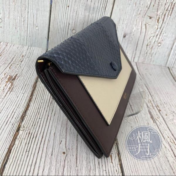 BRAND楓月 CELINE 藍白咖 拼接 蛇紋 拼接 長夾 錢包 卡包