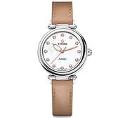 TITONI 梅花錶 炫美時尚之約械錶女錶-珍珠貝x卡其錶帶/33.5mm 23978S-STB-622
