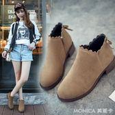 韓版新款英倫及踝靴百搭女靴平底短靴女鞋秋冬季馬丁粗跟裸靴   美斯特精品