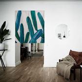 門簾 水彩植物棉麻布藝窗簾簾TW