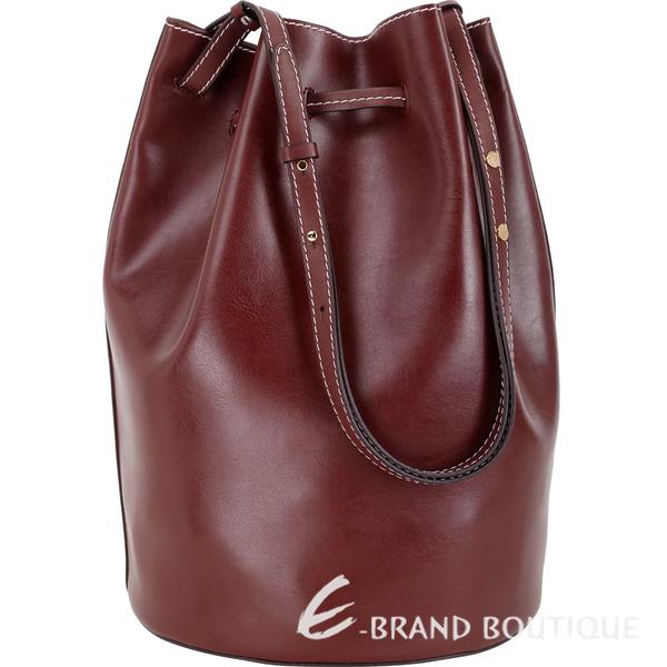 Stella McCartney 明線車縫附萬用包手提/肩背水桶包(紅梨色) 1840419-74