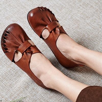 真皮手工女鞋 鏤空平底鞋 民族風休閒鞋/2色-夢想家-標準碼-0409