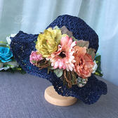帽子女韓版潮百搭時尚花朵草帽女生夏季小清新款手編沙灘帽可折疊