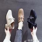 牛津鞋英倫小皮鞋女春季新款中跟百搭方頭深口兩穿女鞋復古粗跟單鞋 蘿莉小腳丫