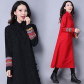 旗袍 2018春季新款中國風提花改良日常旗袍民族風女裝復古長袖洋裝女 雙12購物節必選