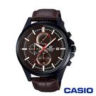 CASIO卡西歐 商務質感線條皮革男腕錶-咖啡x47mm  EFV-520BL-5A