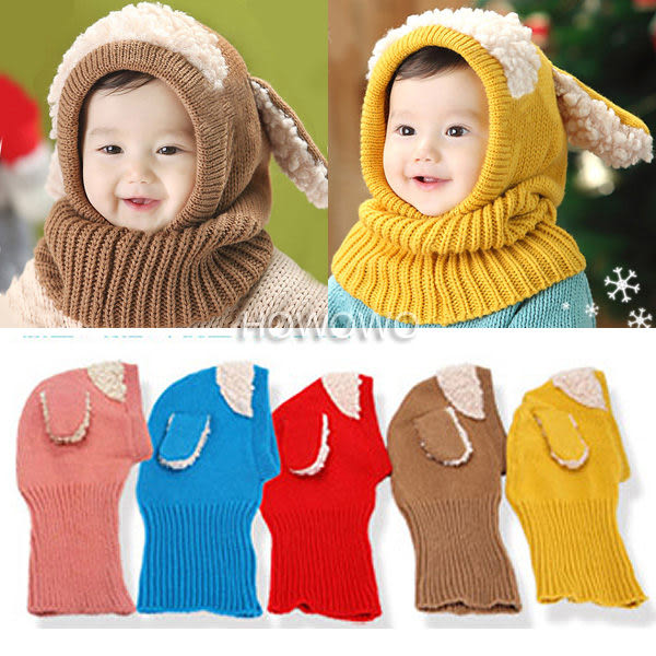 寶寶護耳毛線帽子 大耳朵嬰兒針織圍脖  (3-36個月) CA605 好娃娃