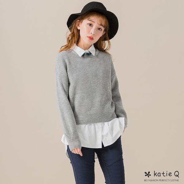 圓領低肩針織毛衣(3色)-F-KatieQ