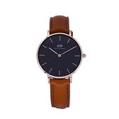 【Daniel Wellington】PETITE瑞典時尚品牌經典簡約尼龍腕錶-咖啡棕x玫金-32mm/DW00100166/原廠兩年保固