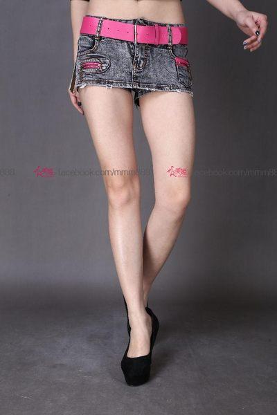 衣美姬♥側邊交叉 綁帶造型 牛仔短裙 火辣性感迷你短褲 夜店酒吧小姐短裙 含腰帶