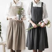 漂亮水洗棉麻圍裙北歐風百褶裙邊花房咖啡廳圍兜溫馨烘焙