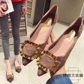 歐美時尚女鞋子大碼金屬扣淺口尖頭平底單鞋【時尚大衣櫥】