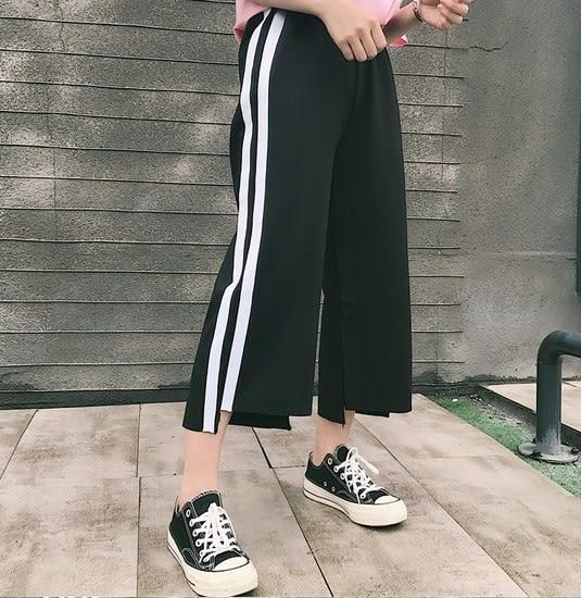 EASON SHOP(GU5049)側邊白條紋雙槓槓鬆緊腰寬褲不規則八分褲喇叭褲褲腳拉邊前短後長運動褲女