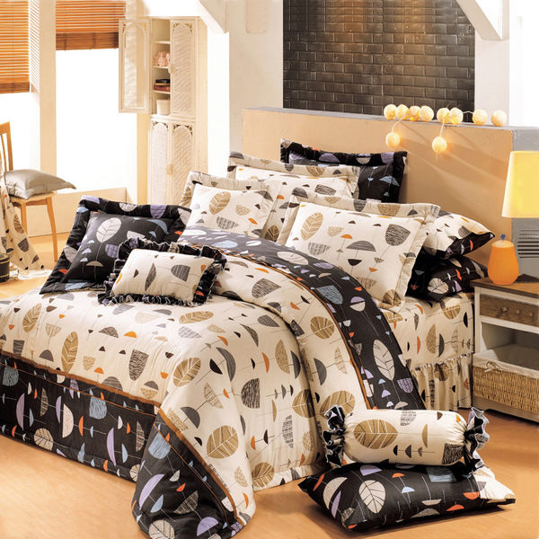 台灣製-葉葉情深 單人(3.5x6.2呎)三件式鋪棉涼被床包組-米黑色[艾莉絲-貝倫]T3HC-3B75-YL-S