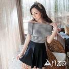【AnZa】小格紋大翻領拼接連身洋裝
