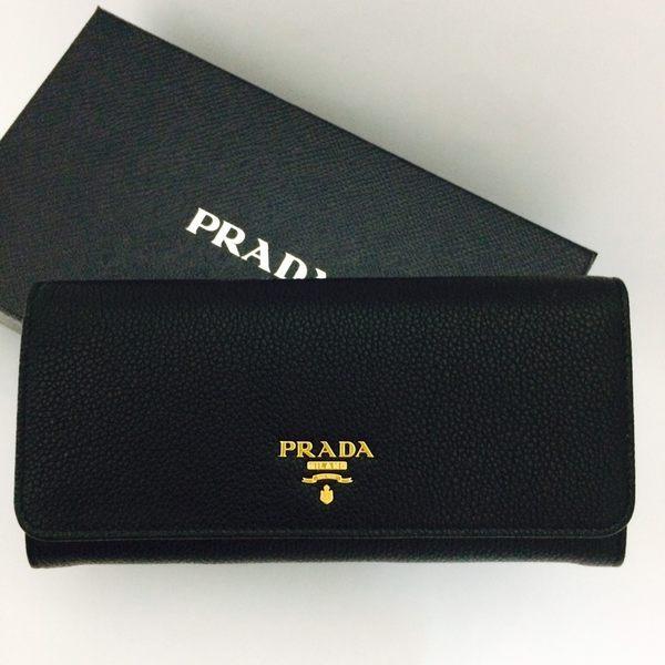 PRADA全新真品 1MH132 防刮 荔枝紋 牛皮 雙按釦(黑色) 長夾+鏈帶卡夾 ~ 現貨